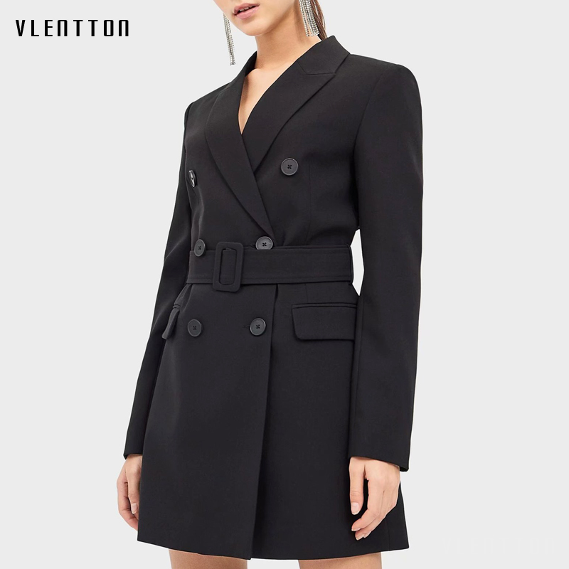2020 Spring Autumn Black Long Blazer Jacket Women Sashes Solid Suit Coat Female Outwear Office Lady Blazers Feminino Vestidos