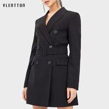2020 Spring Autumn Black Long Blazer Jacket Women Sashes Solid Suit Coat Female
