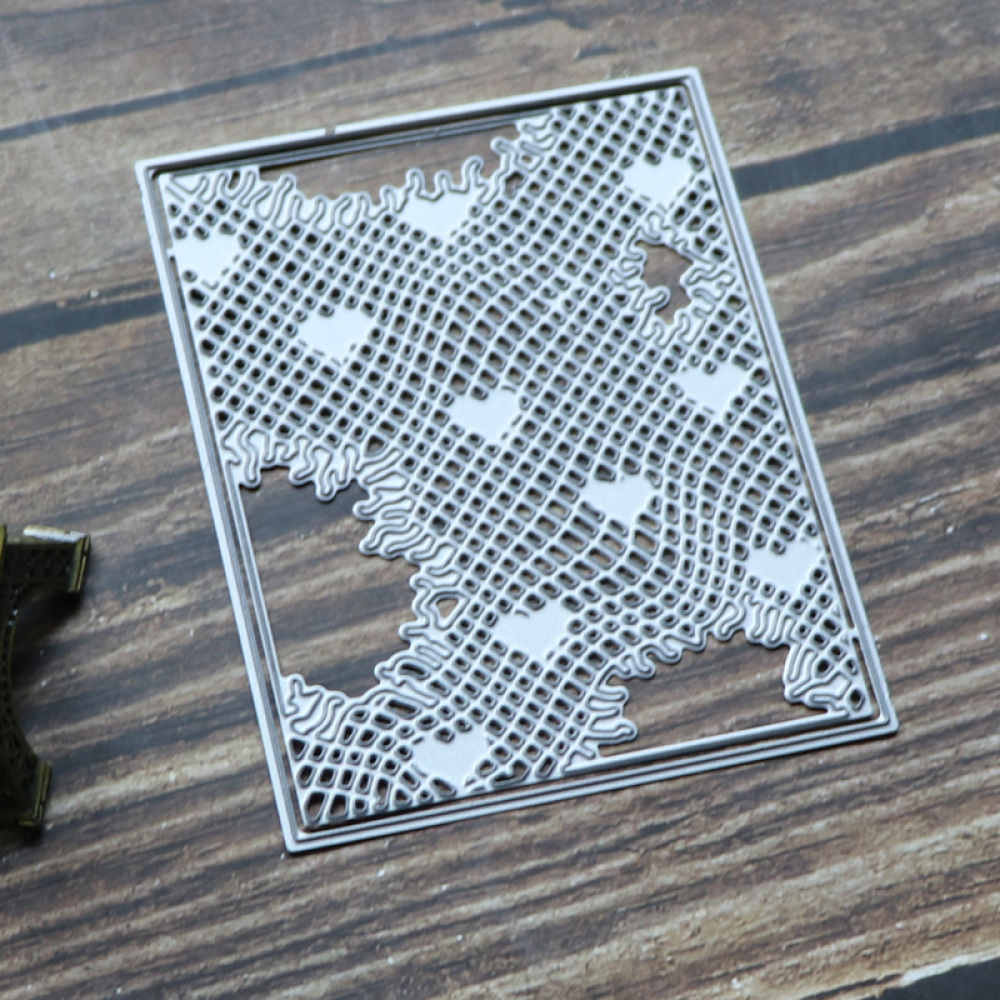 Rectangle Frame Lattice Heart Background Metal Cutting Dies Scrapbooking Stencil Die Cuts Card Making Decor Craft Embossing