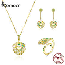 bamoer Queen Peacock Feather Pendant Necklace and Earrings 925 Sterling Silver Luxury Party and Wedding Jewelry Sets ZHS156(China)