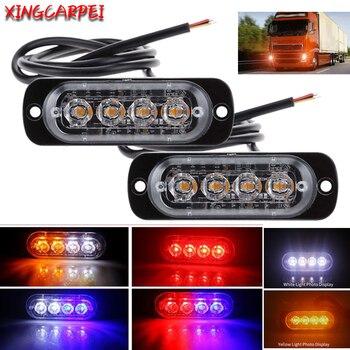 2/4pcs 12V-24V Emergency 4 LED Truck Strobe Warning Light For Auto Car Truck SUV Side Strobe Warning Flashing Traffic Light фото