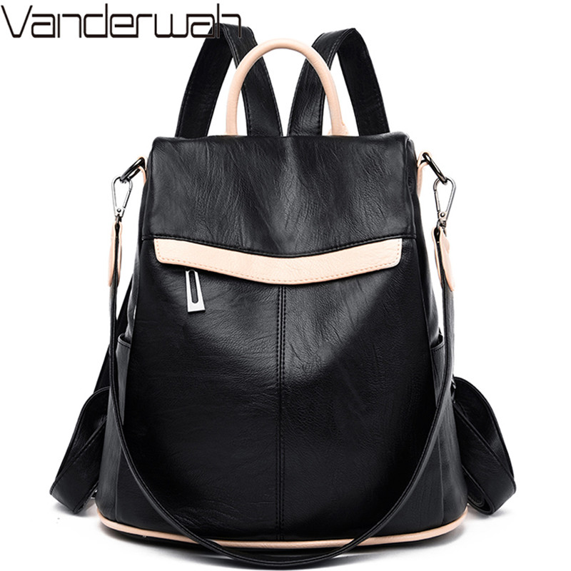 Women Soft Leather Backpack Female Multifunction Anti-theft Shoulder Bag High Quality Schoolbags For Girls Casual Travel Daypack