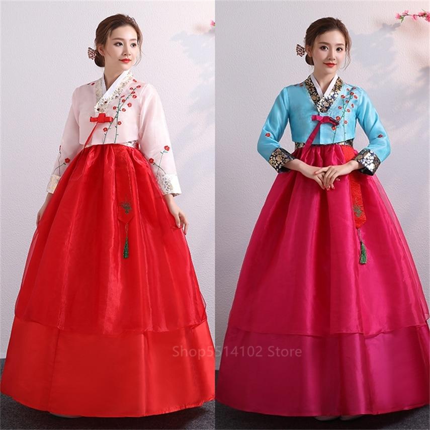 Традиционная корейская одежда, платье для взрослых женщин, модный костюм с топом и юбкой для выступлений в стиле принцессы азиатского корта