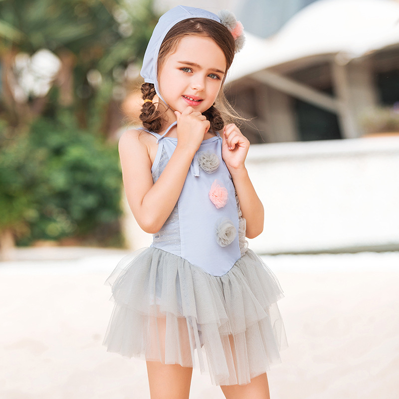 2019 New Style INS KID'S Swimwear Korean-style Girls One-piece Princess Cute Yarn Mesh Dress Baby Big Boy Swimwear