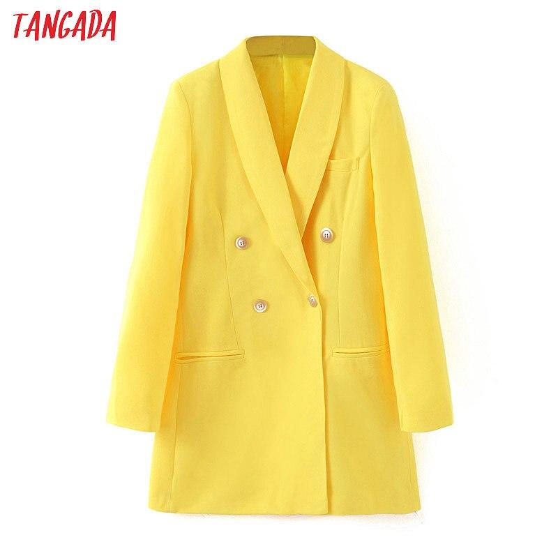 Tangada Fashion Women Yellow Blazer Long Sleeve Korea Style Female Blazer Suit Office Ladies New Arrival 2019 Outwear SL62