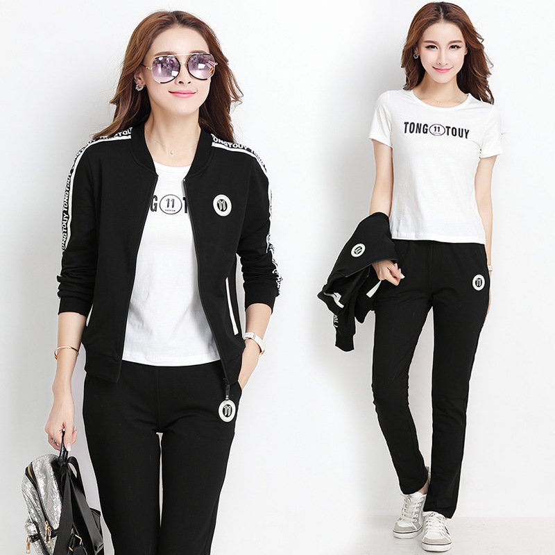 2019 Spring And Autumn New Style Fashion Casual Sports WOMEN'S Suit Korean-style Sports Clothing Sports Hoodie WOMEN'S Suit Thre