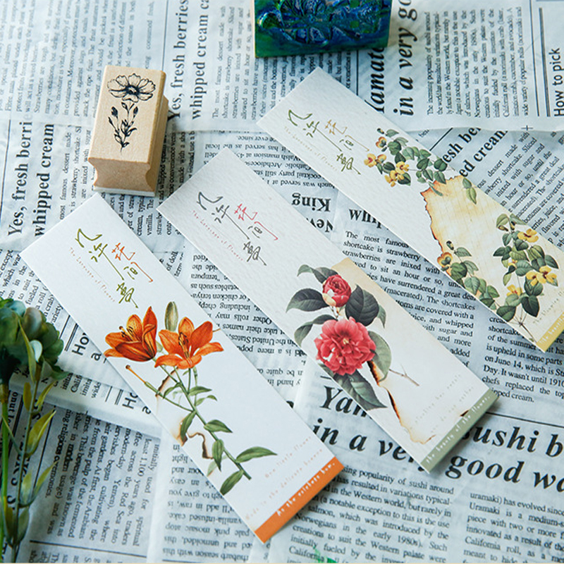 Office & School Supp. ... Calendars, Bookmark & Cards ... 32247370388 ... 3 ... 30Pcs/pack Cute Flower Vintage Plant Paper for Book Reading Maker Page Paper Bookmarks ...