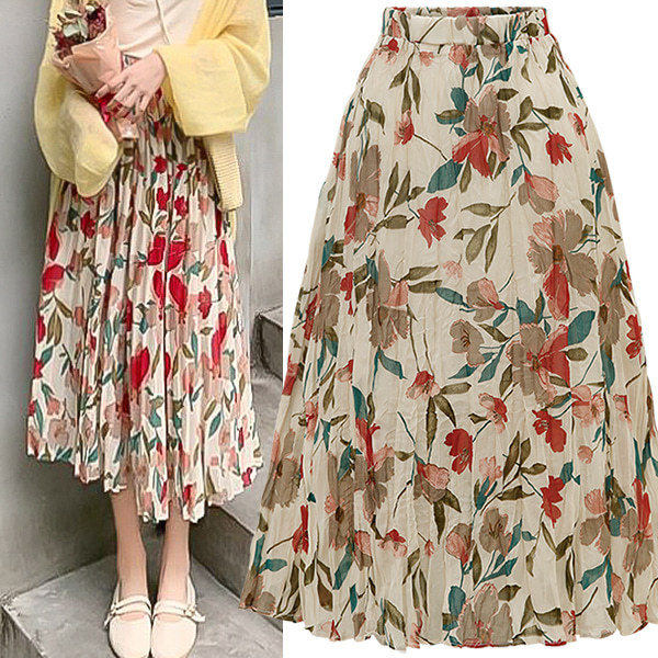 Western Style 2019 Summer New Style Chiffon Pleat High-waisted Slim Fit Slimming Mid-length Skirt Women's