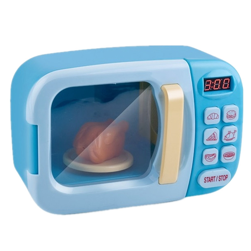 Children Pretend Play Toys Electric Home Appliances Simulation Microwave Oven with Light Rotate Playset for Kids,Blue
