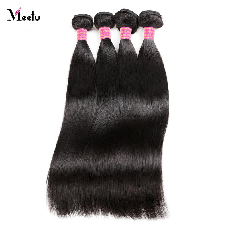 Перуанские прямые пучки волос Meetu, 100% натуральные кудрявые пучки волос 8-28 дюймов, не Реми, для наращивания, 3 или 4 пучка