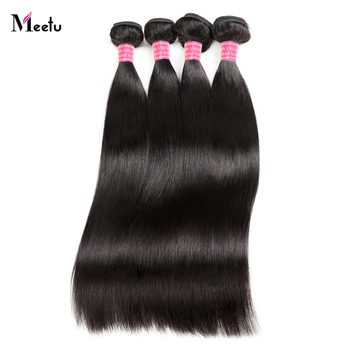 Meetu Peruvian Straight Hair Bundles 100% Human Hair Weave Bundles 8-28 inch Non Remy Hair Extensions Buy 3 or 4 Bundles Deal image