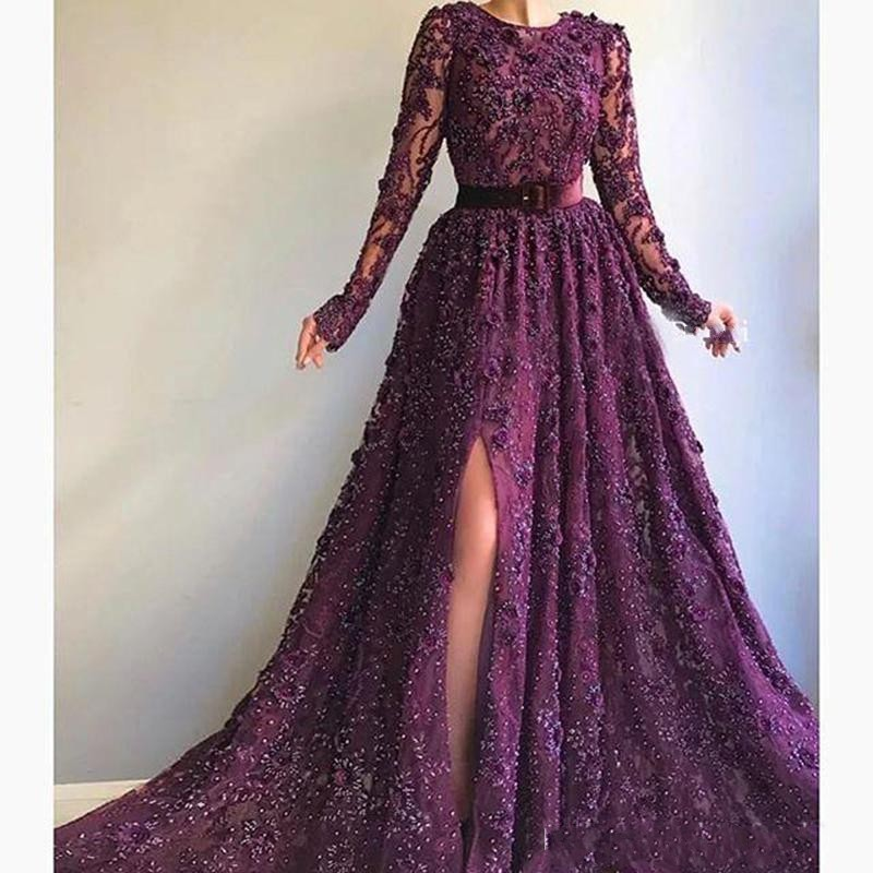 Image 2 - Grape Elegant Side Split Evening Dresses With Sash O Neck Beads Sequins Appliques Lace Prom Dress Long Dubai вечернее платьеEvening Dresses   -