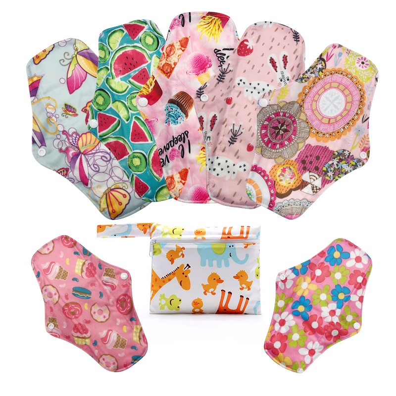 [Mumsbest] 7PCS Cloth Maternity Pads Reusable Bamboo Charcoal Print Color Menstrual Pads +1PCS Mini Bag Random Color
