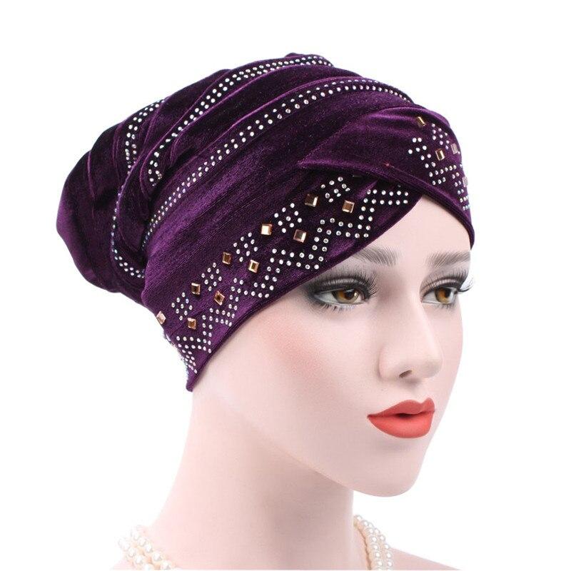 New Women Hijabs Soft Velvet Rhinestone Turban Hat Beanie Foldable Muslim Scarf Cap Solid Color Female Ladies Head Cap Headpiece