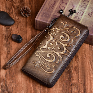 New Genuine Leather Women Long Purse Wallet Embossed Vintage ID/Credit Cards Handy Bag Multi-Functional Female Wrist Clutch Bags(China)