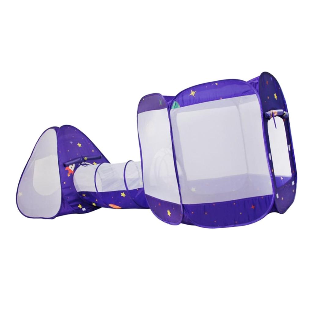 3 в 1 детская игровая палатка с туннель, быстрый складной дизайн шариками палатка с сумкой для хранения на молнии - 3