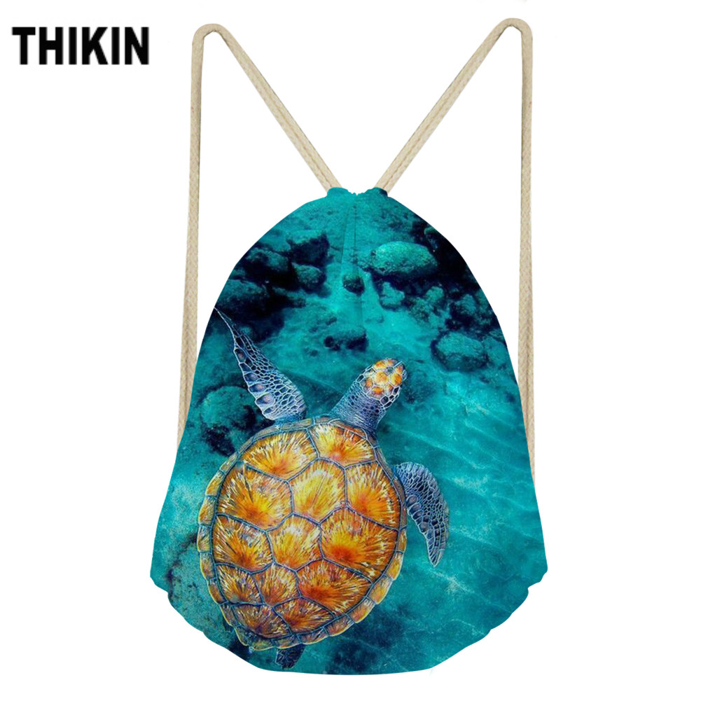 ThiKin Sea Turtle With Tropical Fish Print Drawstring Bag Fashion Shoulder Bags Personalized Animals Pattern High Capacity
