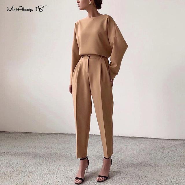 Mnealways18 Vintage Zipper Khaki Trousers Women High Waist Office Pants Ladies Brown Trousers Work Wear Elastic Waist Pants 2020