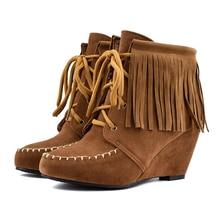 YANSHENGXIN Shoes Woman Boots Suede Tassel Ankle Boots Wedge Women Shoes Autumn Winter Boots Large Size Lace-Up Ladies Booties недорого