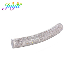 Juya DIY Charm Beads Jewelry Material Supplies Hollow Curved Tube Spacer Beads For Natural Stones Pearls Beadwork Jewelry Making