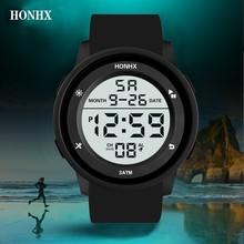 HONHX цифровые часы водонепроницаемые повседневные для мужчин ЖК секундомер Дата светящиеся ПВХ Группа электронные спортивные наручные часы Montre Homme 40