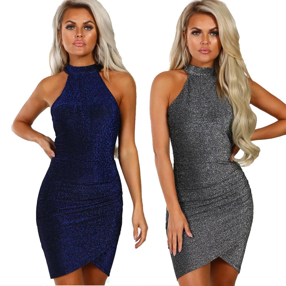 Hot Fashion Cocktail Dresses Bright Silk Halter Strapless Sleeveless Pack Hip Sexy Wrinkle Mini Party Dress Homecoming Gown