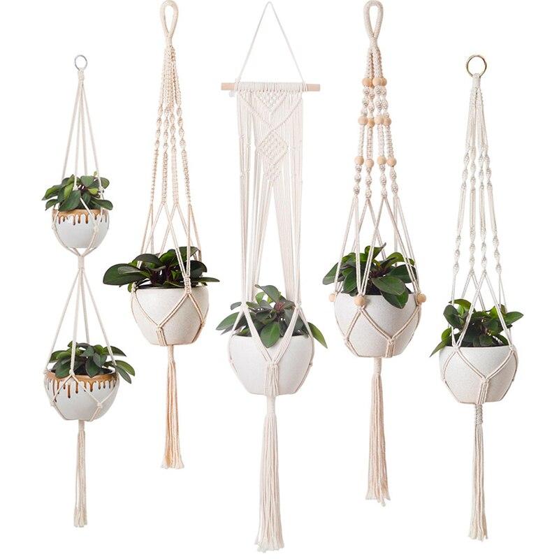 100% ручной работы подвесные корзины цветочный горшок держатель для растений Подвеска для растений из макраме Крытый Настенное подвесное ка...