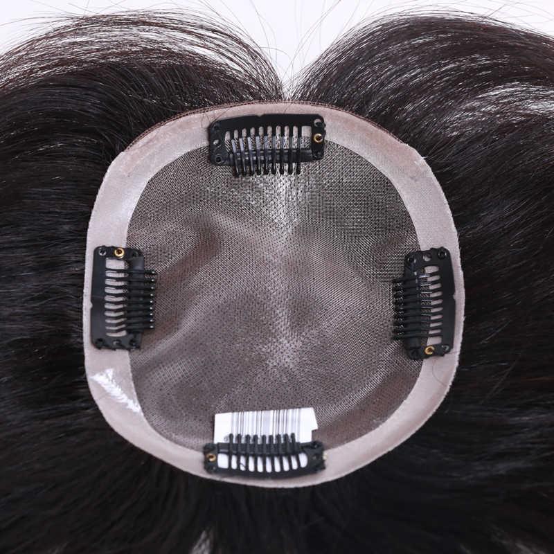 QHP Menschliches Haar Topper Perücke Für Frauen Gerade mono + pu Basis Mit Clips In Haar Toupet Remy Haarteil