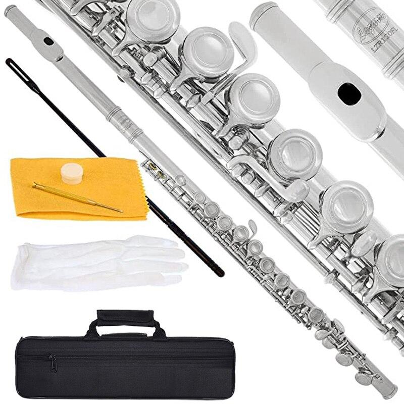 16 закрытых открытых отверстий, C-канавка, капроникель, никелированный посеребренный, для концерта, канавка, инструмент, поперечный с E-ключом...