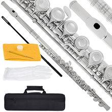 Flûte en C plaquée Nickel argent, 16 trous ouverts fermés, Instrument de Concert Transversal avec gants e-key, sac rembourré