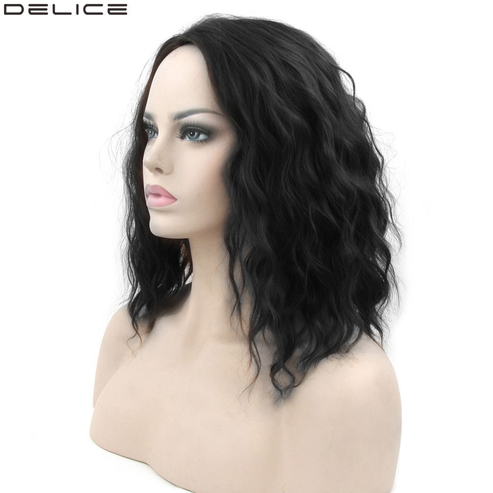 Delice Women's Afro Curly Bob Wig Middle Part Synthetic Hair Black Orange Cosplay Short Wigs