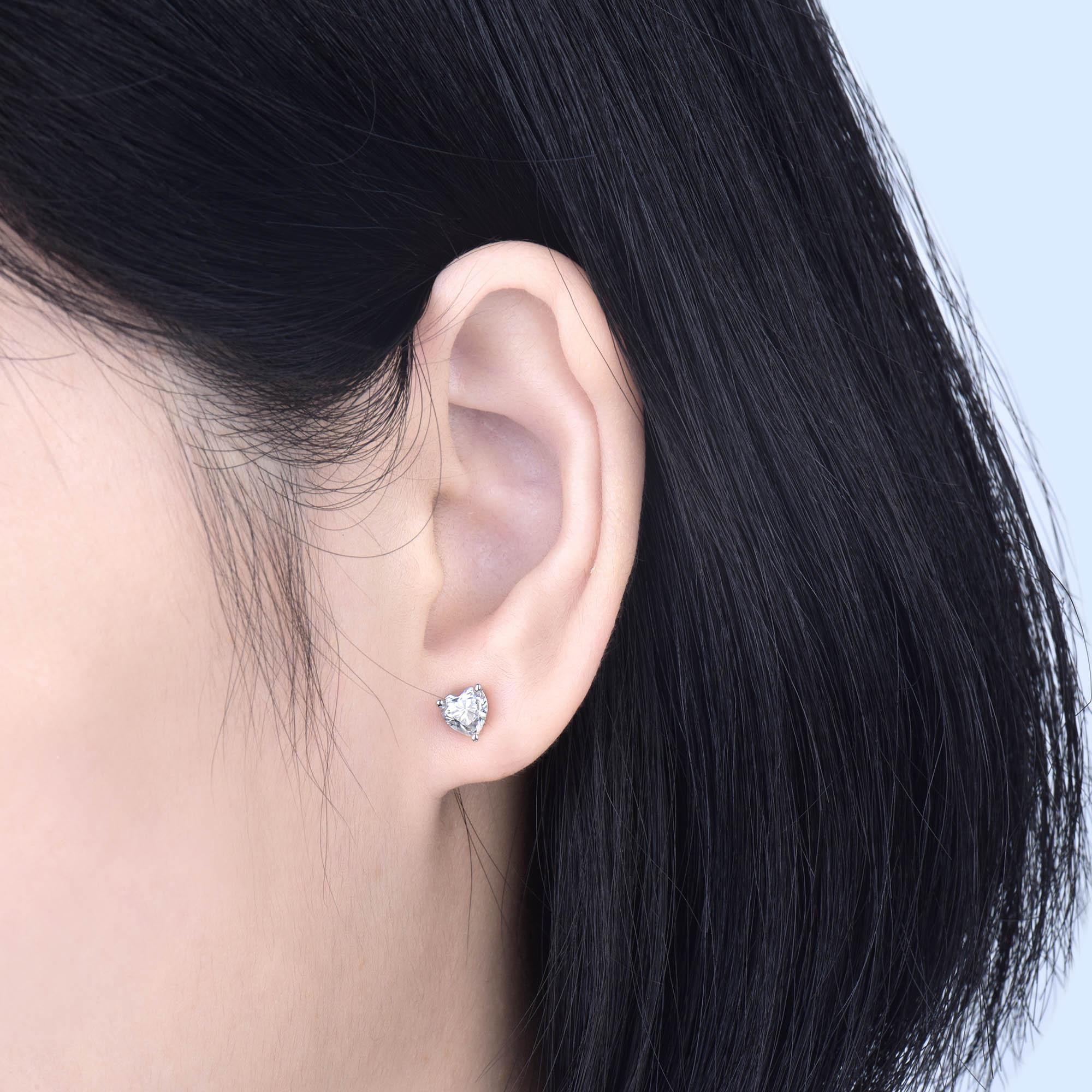 Femmes Moissanite boucles d'oreilles goujon solide 14K or blanc 1ct 2ct coeur brillant Moissanite pour Layd fiançailles OL Style bijoux de mode - 6
