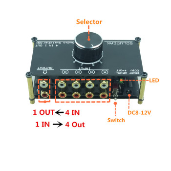 SOLUPEAK AS1 Audio Signal Switcher 4 Input 1 Out or 1 IN 4 OUT hifi stereo RCA Switch Splitter Selector Box for amplifier