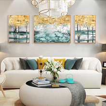 Golden Forest Landscape Wall Art Canvas Abstract Painting Nordic Posters and Prints Wall Pictures for living Room Home Decor estee lauder pure color love sparkle