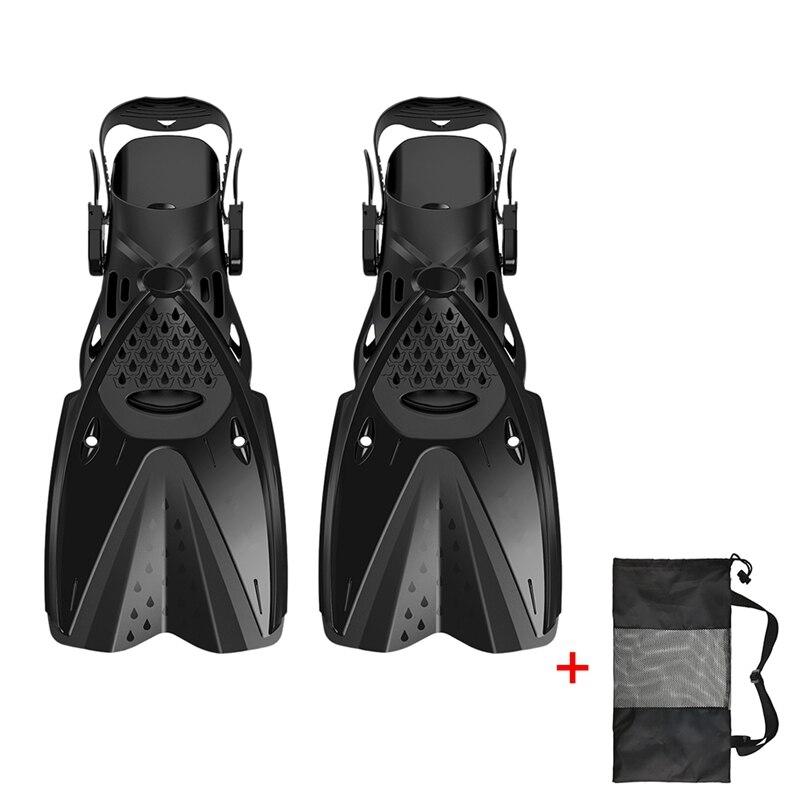 Дети взрослые профессиональные ласты для плавания Подводное плавание дайвинг Обучение Купальники гибкие ласты обувь ножная одежда - Color: Black