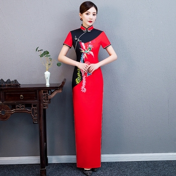 Plua size 5XL custom Red Phoenix cheongsam female autumn new Chinese style large size dress long paragraph improved show Qipao
