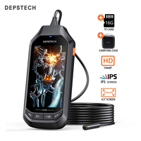 DEPSTECH 4.5in IPS Screen Digital Endoscope 5.0MP Industrial Borescope Waterproof Inspection 1944P Mini Camera With 16G TF Card