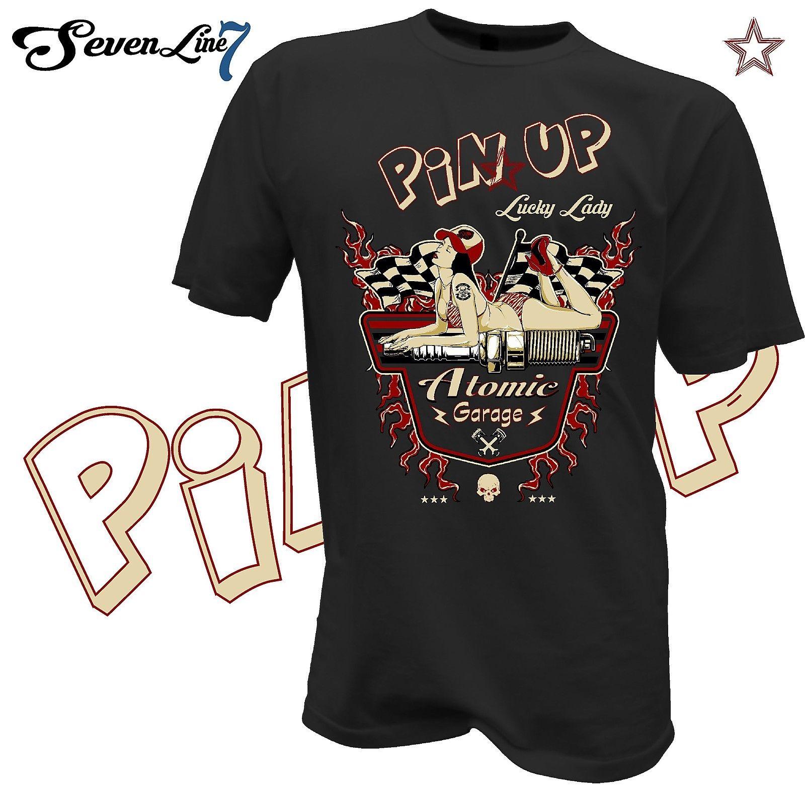 T-shirt biker hotrod Vintage Retro v8 Pinup CUSTOM ROUTE 66 USA SKULL USA 534
