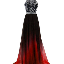 2019 Sexy Prom Dresses Gradient Chiffon Bead Long Formal Eve