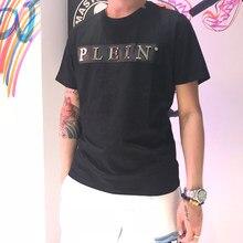 Plein marque style d'été coton hommes noir crânes T-shirt décontracté o-cou T-shirt t-shirts à manches courtes T-shirt noir pour hommes 25004