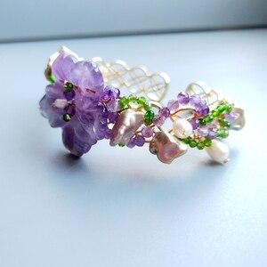 Image 2 - Lii Ji Genuine Amethysts Diopside Freshwater Pearl Bracelet Handmade Jewelry Open Bangle  For Women Gift Drop Shipping