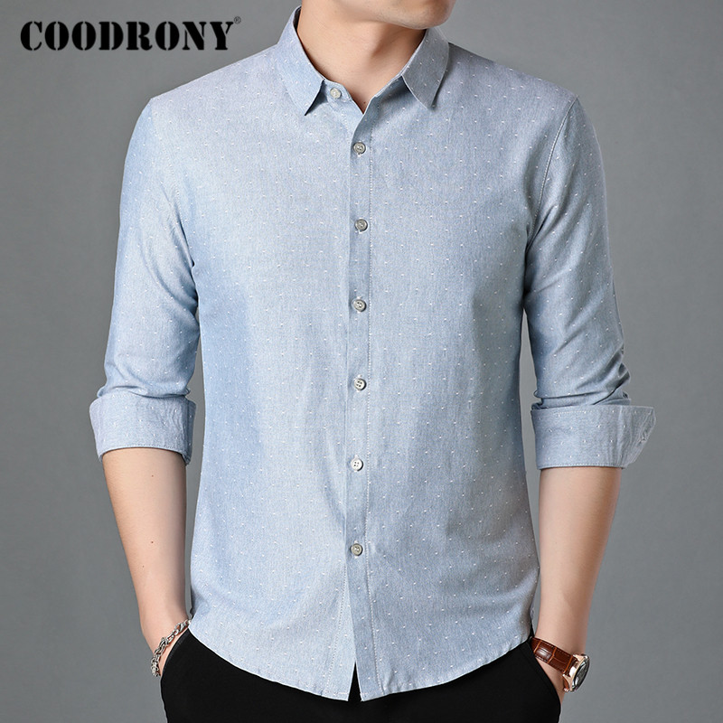 COODRONY Brand Long Sleeve Shirt Men Clothes Spring Autumn Classic Dot Mens Shirts Business Casual Camisa Social Masculina C6014