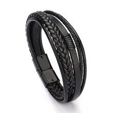 Bracelet Men Multilayer Leather Bangles Magnetic-clasp Cowhi