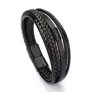 Bracelet Men Multilayer Leathe