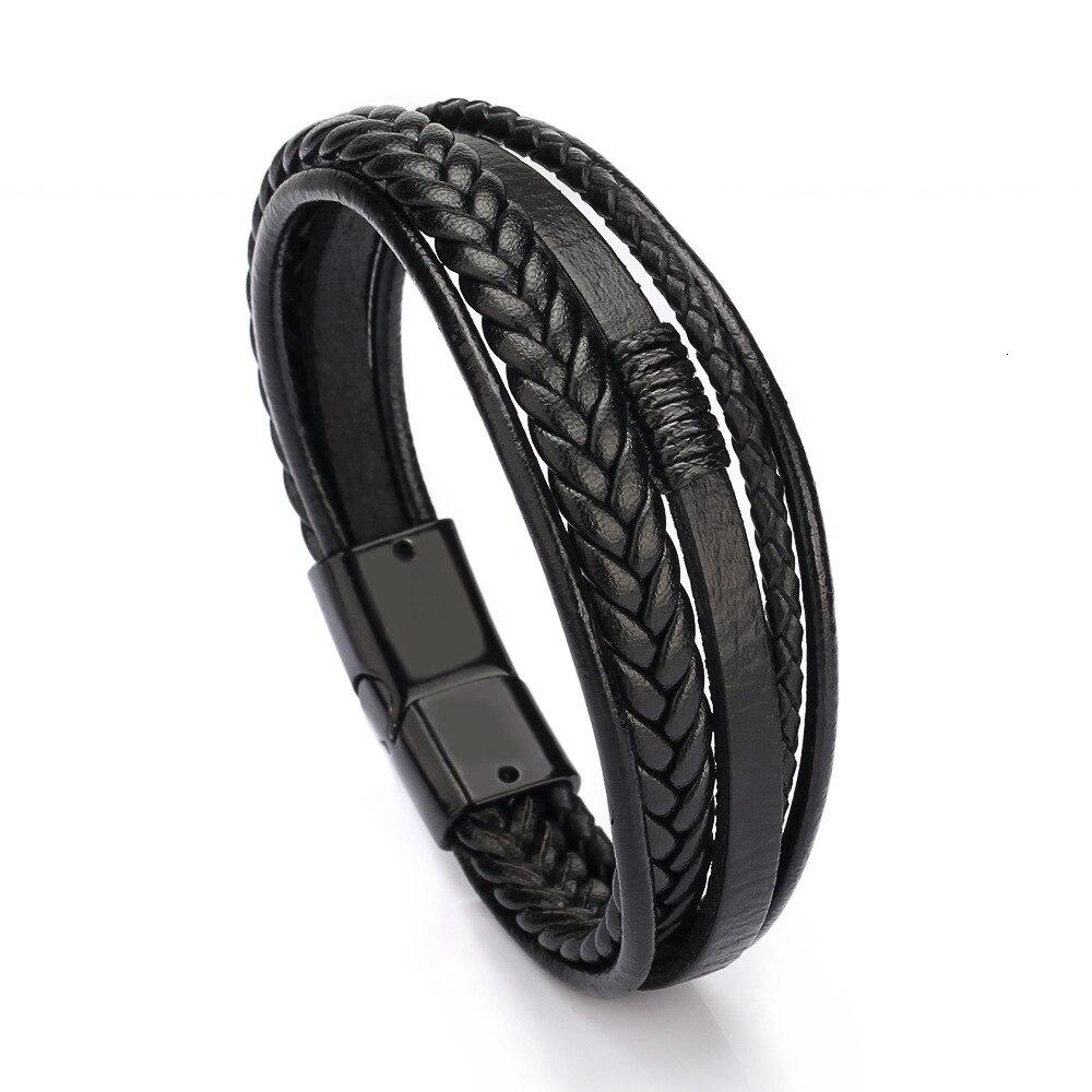 Bracelet hommes multicouches bracelets en cuir fermoir magnétique peau de vache tressé Multi couche enveloppement Bracelet tendance brassard pulsera hombre