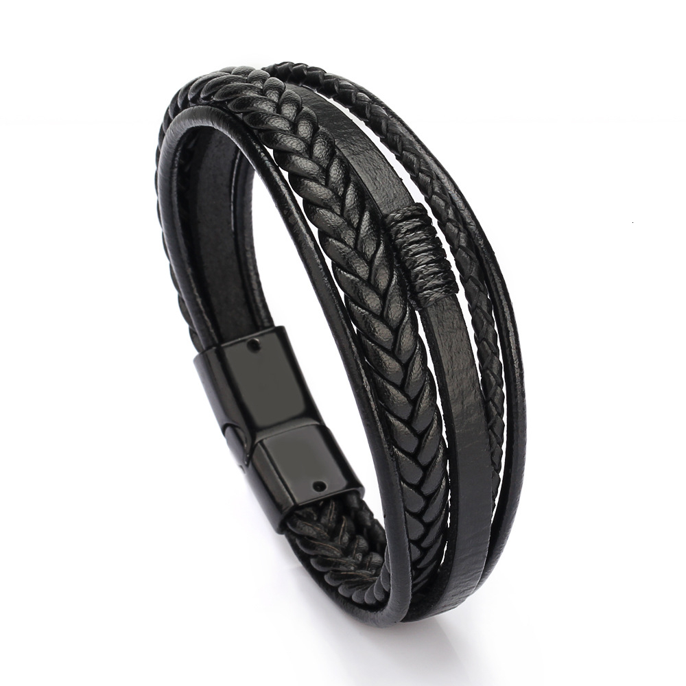 Bracelet Men Multilayer Leather Bangles Magnetic-clasp Cowhide Braided Multi Layer Wrap Trendy Bracelet Armband pulsera hombre(China)