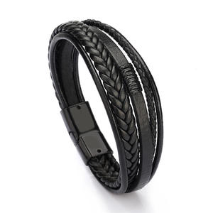 Bangles Armband Layer-Wrap Braided Trendy Bracelet Multi Magnetic-Clasp Cowhide Men Pulsera Hombre