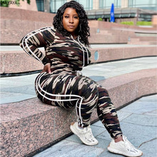 CM.YAYA fashion women camouflage tracksuit hooded long sleeve tops penciljogger sweatpants suit two piece set matching set