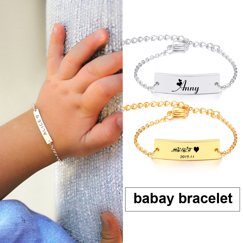 Engrave Baby Bracelet Gold Silver Color Birthday Gift Ideas For Girl Boy Custom Personalized Children Name Bracelet|ID Bracelets|   - AliExpress