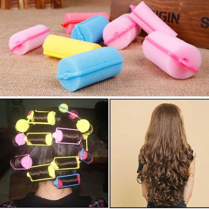 10pcs Buckle Soft Sponge Foam Hair Curler Roller Easy Curling Styling Salon Barber Hairdressing Hairstyling Twist Tools Kit